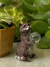 Miniature Dollhouse Fairy Garden Accessories Wildlife Animal Gazing Ball Raccoon