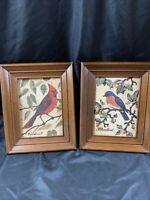 "Vintage Set of 2 ~ 1970's Pure Linen BIRDS Prints 10""x8"" Kay Dee Hand Prints"
