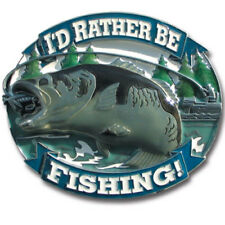 I'd Rather Be Fishing 3D Metal Hitch Cover Bass Fish Lure Pole Hook Boat