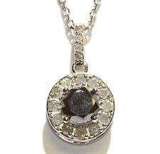 "New 925 Sterling Silver 2ct Black White diamond halo pendant necklace 3.8g 18"""