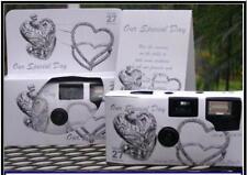 12 SILVER HEARTS COLOR FILM DISPOSABLE WEDDING CAMERAS party Favors 35mm 27exp