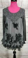 Feratelli Tunic Size M Womens Gray Floral Layered Embroidered Mesh Ruffle Lace