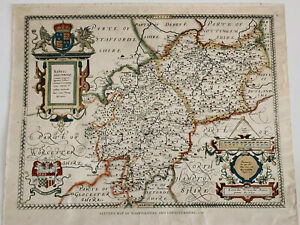 Vintage Saxton's Map Of Warwickshire & Leicesterhire 1576 Lithograph Coloured