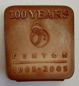 Fenton Chocolate Glass Logo 100th Ann. Lim. Ed. 30/300 FENTON FAMILY Signed MINT