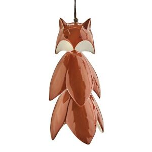 ART & ARTIFACT Fox Wind Chime, Glazed Ceramic Red Fox Wind Bell, 10 inch