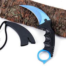 Blue Karambit Doppler Csgo Knife Cs Fixed Blade Counter Strike Combat Knife