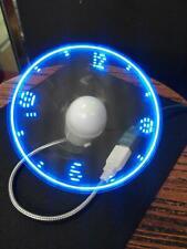 Blue Durable Adjustable Usb Gadget Mini Flexible Led Light Usb Fan Time Clock De