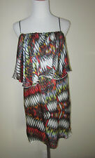 $298 ALEXIS SILK GEOMETRIC PRINT RUFFLE TUNIC DRESS XS