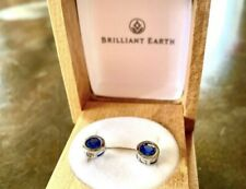 Brilliant Earth 18K White Gold Natural Sapphire Bezel Earrings