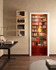 3D Retro Bookcase Self-adhesive Bedroom Door Murals Wall Sticker Wallpaper Decor