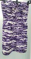 Charlie Jade Anthropologie Purple White Silk Pleated Pockets Strapless Dress Med