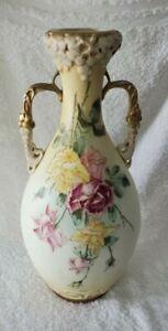 "Antique Amphora Turn Teplitz RStK Vase Austria Two Handled Hand Painted Vase 15"""