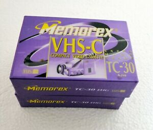2 Memorex VHS-C TC-30 EHG Extra High Grade 2-Packs Sealed -