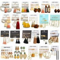 6Pairs Boho Tassel Crystal Pearl Earrings Women Ear Stud Drop Dangle Jewelry NEW