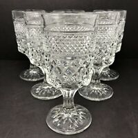 6 Vintage Anchor Hocking Wexford Water Tea Goblet Glasses Mid Century