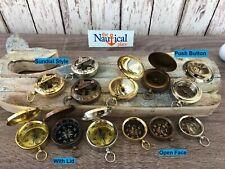 Brass Pocket Compass - Sundial, Push Button w/ Lid - Antique, Silver - Nautical