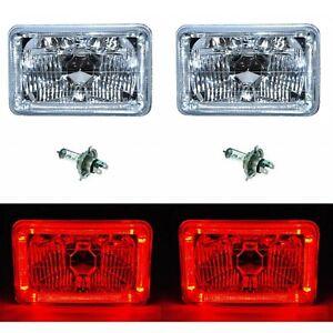 4X6 Red LED Halo Angel Eye Halogen H4 Headlights Crystal Clear Headlamp Bulbs