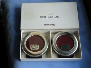 Boxed pair of British Airways Concorde hallmarked silver circular photo frames