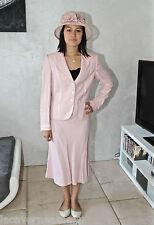 ensemble tailleur rose jupe + veste + chapeau RENA LANGE sorbet T 40/42 LUXE