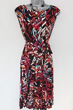 Impresionante M&S Mujer geométricas con cinturón té Casual Dia Noche ocasión Vestido Talla 8