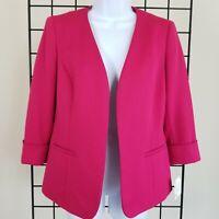 Kasper Open Front Jacket Womens 4 Bright Pink Lined New