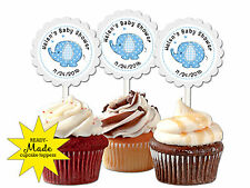 Blue baby elephant themed personalized cupcake toppers baby shower favors decor