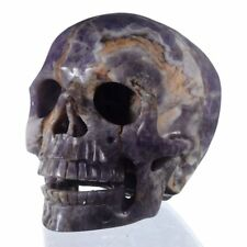 "5""Natural Chevron/Amethyst Cluster Skull carving,Reiki Healing 26Y88"