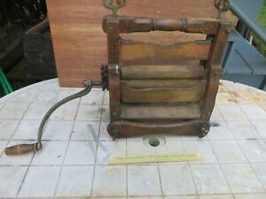 Antique Wood Clothes Wringer ANCHOR Brand Improved Hand Crank Lovell Working VGC