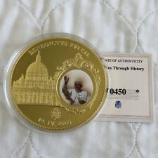 2011 POPE BENEDICT XVI 70mm LARGE GOLD PLATED COLOURED PROOF MEDAL - coa