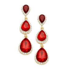 red  diamante earrings sparkly bling prom party long rhinestone dangly 0395