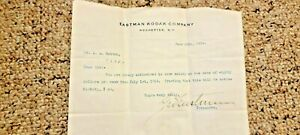 Rare George Eastman Kodak signed typed salary letter A. A Ruttan 1914 No Reserve