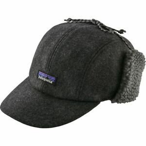 Men's Patagonia Recycled Wool Ear Flap Cap in Forge Grey Size L/XL