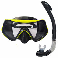 Swimming Half Face Mask Surface Diving with Snorkel Scuba Tube Set Yellow Black