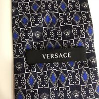 Versace Navy Blue 100% Silk Necktie Made In Italy EUC