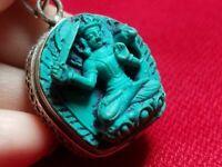 Manjushri Amulet Gau Ghau Tibetan Prayer Box Silver Locket Pendant Handmade