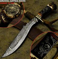 Brussel Rear Handmade Damascus Steel Crown Antler Hunting Kukri Knife Scrimshaw