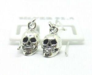 Totenkopf Schädel Skull Ohrringe 925 Sterling Silber Schmuck Biker Ohrhänger