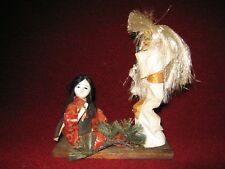 Vintage Japanese Girl in Kimono with Jealous Demon in Hannya Mask circa 1950