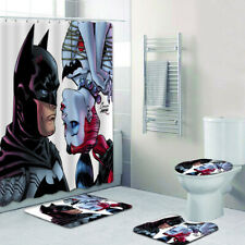 Batman Shower Curtain Floor Mat Contour Anti-Slip Foot Pad Toilet Lid Cover 4PCS