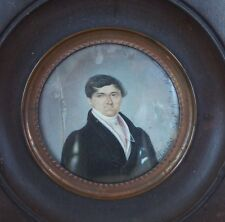 Antique Fine Miniature Painting Portrait 1825 signed / artist referenced in book