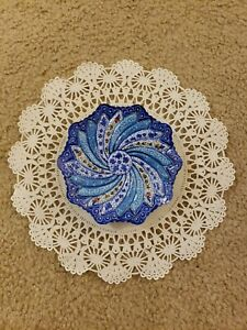 Persian Handmade Mina Kari Copper Enameled Decorative Plate (Appx. 6.5inch wide)