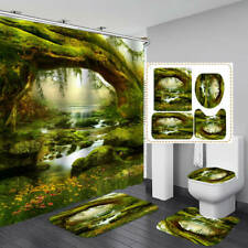 Nature Green Forest Shower Curtain Bath Mat Toilet Cover Rug Bathroom Decor