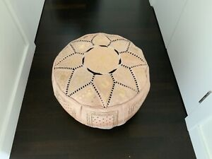 MOROCCAN CREAM AND GOLD LEATHER HAND STITCHED POUFFE