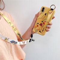 For iPhone X XS Max 7 8+ Cute cartoon Pikachu Pokemon Strap wristband phone Case