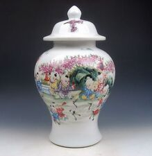 13.25 Inches Porcelain Chinese Kids & Spring Festival Painted LARGE Ginger Jar