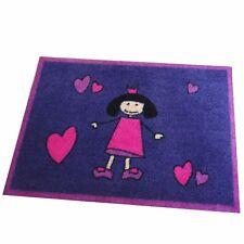 """Teppich Matte """"kleine Prinzessin mit Herz"""" 100x140 cm rutschfest waschbar"""