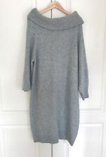 H&M Sweater Dress L Heather Gray Turtle Neck Long Sleeve Marled Ribbed Banded