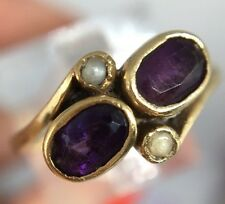 Antique Victorian Unusual Ornate Yellow Gold Amethyst Pearl Crossover Dress Ring
