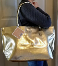 Michael Kors NEW XL Gorgeous Gold Tote Bag Purse Weekender Shopping Travel NWT