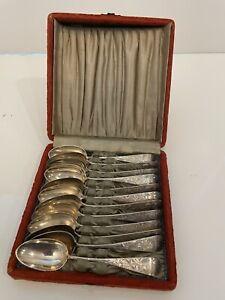 Sterling silver set of 12 Vintage dessert spoons